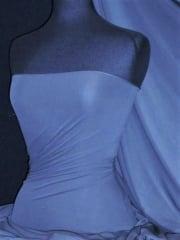 Paris Mesh Non-Lycra 4 Way Stretch Light Jersey Fabric- Mid Blue Q450 MDBL