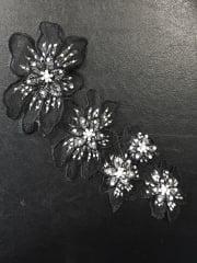 Net Beaded Flower Appliqué- Black EM128 BK