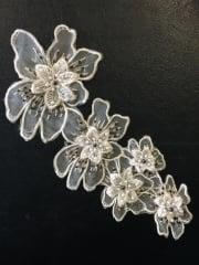 Net Beaded Flower Appliqué- Ivory EM128 IV