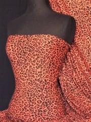 Viscose Cotton Stretch Fabric- Orange/Black Leopard Q700 ORBK