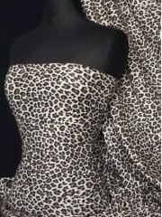 Viscose Cotton Stretch Fabric- Grey/Black Cheetah TK13 GRBK