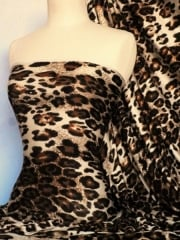 Viscose Cotton 4 Way Stretch Lycra Fabric- Cream/Brown Leopard Q1182 CRMBR
