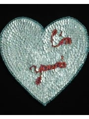 "Iron On Heart Applique- ""I'm Yours"" Mint Blue EM28 MNT"