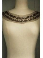 Jewels Round Neck Piece- Olive Green EM41 OLGR