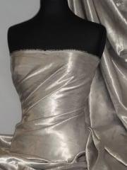 Satin Crushed Charlotte Crinkle Look Creased Fabric- Silver Grey STN63 SLVGR