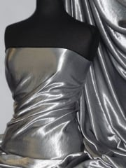 Satin Antique Silk Non-Stretch Soft Fabric- Gunmetal Grey STN65 GNM