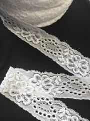 10 METRES Lace Stretch Floral Trimming Job Lot Bolt Pack- White JBL39 WHT