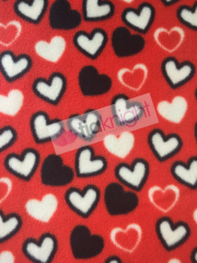Polar Fleece Anti Pill Washable Soft Fabric- Red/Black Hearts SQ228 RDBK