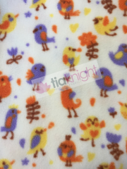 Polar Fleece Anti Pill Washable Soft Fabric- Birdies Ivory/Multi SQ232 IVMLT