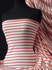 Viscose Cotton Stretch Fabric- Tomato Red/Cream Stripe Q1094 TRDCRM