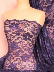 Clearance Lace Scalloped Floral Stretch Lycra Fabric- Purple SQ204 PPL