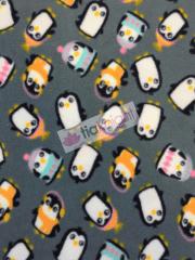 Polar Fleece Anti Pill Washable Soft Fabric- Penguins Grey/Multi SQ226 GRMLT