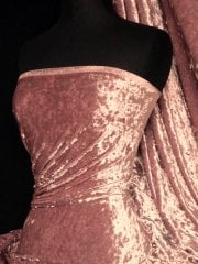 Crushed Velvet/Velour Stretch Material- Dusky Pink Q156 DPN