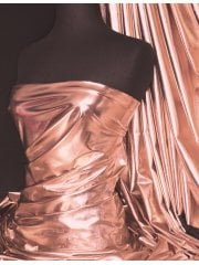 Wet Look Foil Stretch Lycra Fabric- Rose Gold NG253 RSGD