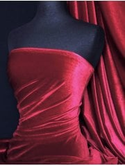 Velvet /Velour 4 Way Stretch Spandex Lycra- Deep Red Q559 DPRD