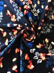 Cotton Lycra Jersey 4 Way Stretch Fabric - Floral Black/Multi SQ257 BKMLT