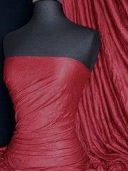 100% Crushed Viscose Stretch Fabric- Red Wine Q517 RD