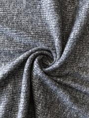 Salt & Pepper Rib Jersey Knitwear Fabric- Black/White SQ262 BKWH