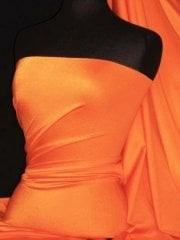 Shiny Lycra 4 Way Stretch Material- Neon Orange Q54 NOR