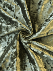 Marble Texture Velvet Lycra 4 Way Stretch Fabric- Khaki Green Q172 KH