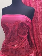 Showtime Sequins Dress/Dance Fabric- Cerise Pink Paisley SEQ67 CRS