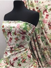 Smooth Touch Woven Blouse/Dress Fabric- English Flower Garden SMT25 IVMLT