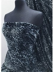 Plush Velour Animal Print Velvet Soft Fabric- Grey Mini Cheetah SQ274 GRBL
