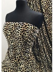 Plush Velour Animal Print Velvet Soft Fabric- Classic Leopard Cream/Brown SQ275 CRMBR