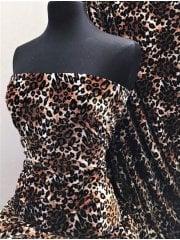 Plush Velour Animal Print Velvet Soft Fabric- Wild Leopard SQ276 CFBR