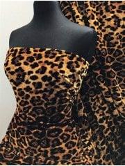 Plush Velour Animal Print Velvet Soft Fabric- Ember Leopard Tan SQ278 TAN