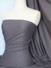 Soft Fine Rib 100% Cotton Knit Material - Dark Cloud Grey Q61 DCGR