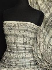 Lycra Check Embossed 4 Way Stretch Fabric- Cream/Black Q987 CRMBK