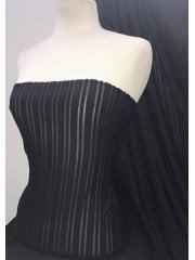 Poly Elastane Burn Out 4 Way Stretch Fabric- Black Stripe SQ281 BK