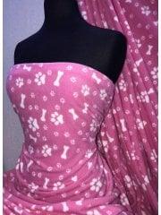 Polar Fleece Anti Pill Washable Soft Fabric- Pose & Paws Pink SQ288 PN