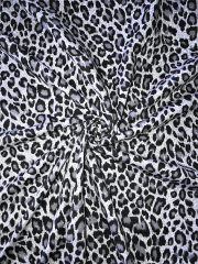 Viscose Cotton Stretch Fabric- Marl Grey Leopard SQ290 GRWH