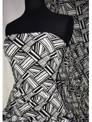 Printed Silk Touch 4 Way Stretch Fabric- African Monochrome SQ296 BKIV