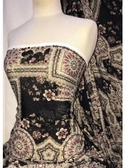 Knitwear 4 Way Stretch Fabric- Turkish Floral Claret/Multi SQ299 BKCLT