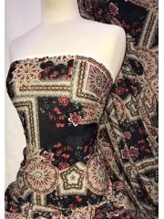 Knitwear 4 Way Stretch Fabric- Turkish Floral Red/Multi SQ300 BKRDGRN