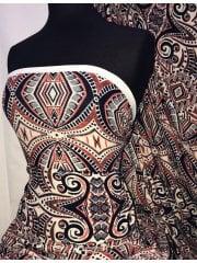 Knitwear 4 Way Stretch Fabric- Mayan Aztec Orange/Navy SQ301 ORNY