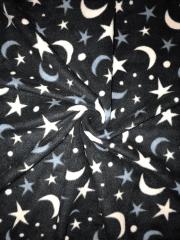 Polar Fleece Anti Pill Washable Soft Fabric- Moon & Stars Black SQ307 BKWH