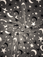 Polar Fleece Anti Pill Washable Soft Fabric- Moon & Stars Grey SQ307 GRWH
