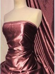 Crushed (Satin Look) Glitz Velour/Velvet Woven Interior Fabric- Rosewood Pink SQ269 RSWD