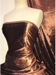 Crushed (Satin Look) Glitz Velour/Velvet Woven Interior Fabric- Copper SQ269 COP