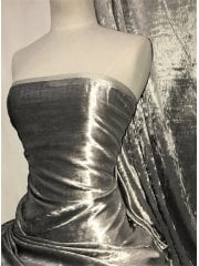 Crushed (Satin Look) Glitz Velour/Velvet Woven Interior Fabric- Light Grey SQ269 LTGR