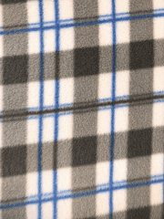 Polar Fleece Anti Pill Washable Soft Fabric- Grey/Blue Tartan SQ316 GRBL