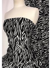 100% Viscose Light Weight Woven Material- Black Zebra SQ331 BKIV
