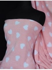 Polar Fleece Anti Pill Washable Soft Fabric- White Hearts On Baby Pink Q810 BPN