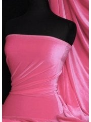 Velvet /Velour 4 Way Stretch Spandex Lycra- Flamingo Pink Q559 FLM