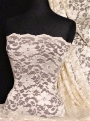 Lace Scalloped Floral Stretch Lycra Fabric- Pearl Q615 PRL