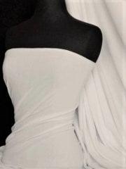 Sweatshirt Fleece (153 cms) Loop Back 4 Way Stretch Cotton Material- White SQ109 WHT
